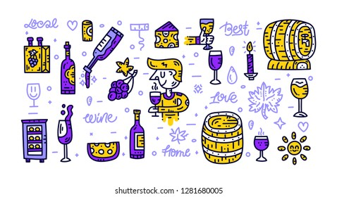 Wine doodly style collection. Hand drawn cliparts with lettering. Isolated elements on white background