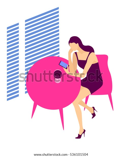 Wine drinking persone. Woman sitting at the table with a glass of wine and mobile phone. Vector illustration