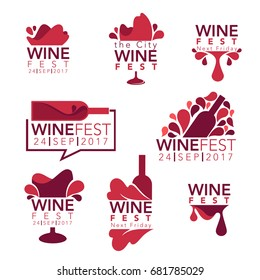 Wine fest, red wine bottles and glasses, logo, emblems, labels
