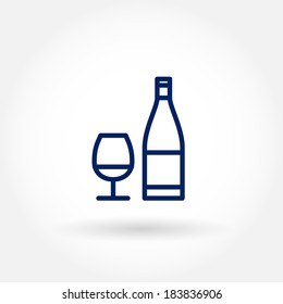 Wine glass and bottle icons. Modern line icon design. Modern icons for mobile or web interface. Vector illustration.