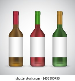 Wine glass bottle set with labels, realistic 3d illustration template isolated on white background with copy space for corporate branding. Classic template green, yellow and red glass, foil caps.