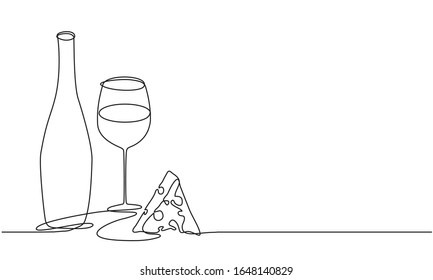 Wine glass and bottle of wine. Vector. Continuous line drawing. Vine and cheese