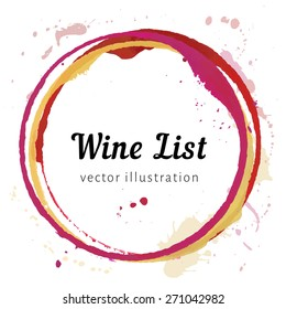 Wine glass bottom circle stain for wine menu logo design. Vector isolated wine stain rings. Red white watercolor mug marks. Circle stains for wine card, logo, list, menu.