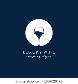 wine glass circle background logo design inspiration for restaurant/bar,and business company