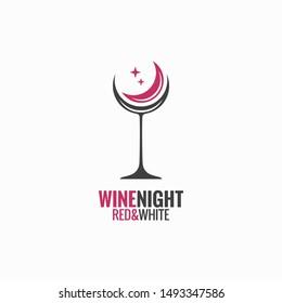 wine glass concept. Wine night moon design background