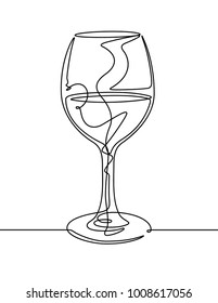 Wine Glass Continuous Line Vector