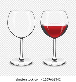 Wine glass, empty and with red wine isolated on a transparent background