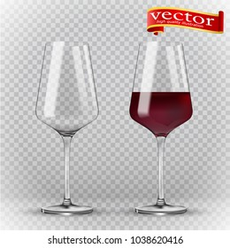 Wine glass, empty and with red wine, transparent vector illustration. Transparency wine glass. Empty and full. 3d realism, vector icon. Realistic 3d vector of high detail
