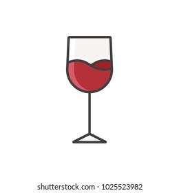 Wine glass flat line colored icon.