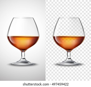 Wine glass with golden alcohol drink serving 2 vertical banners set with transparent background isolated vector illustration