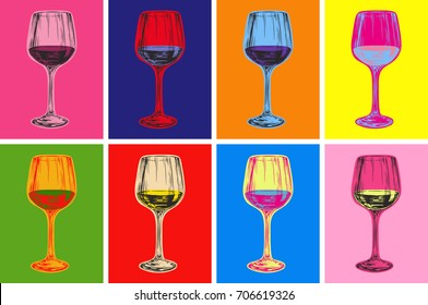 Wine Glass Hand Drawing Vector Illustration Alcoholic Drink. Pop Art Style.