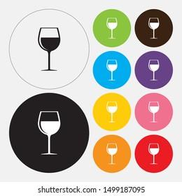 Wine glass icon, flat design style