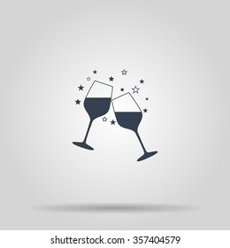 Wine glass icon. Flat design style eps 10