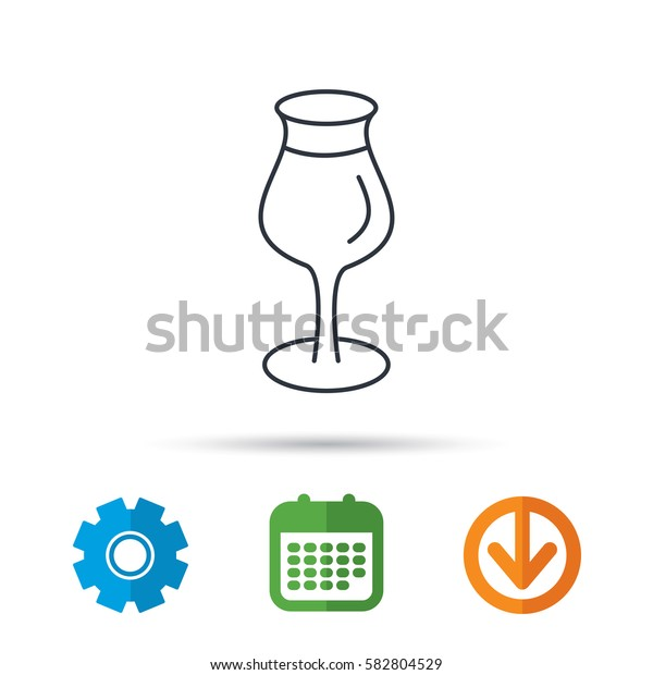Wine glass icon. Goblet sign. Alcohol drink symbol. Calendar, cogwheel and download arrow signs. Colored flat web icons. Vector