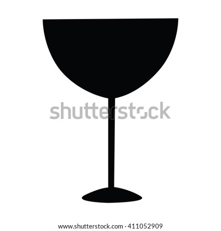 Wine Glass Icon Hand Draw Silhouette Stock Vector Royalty Free