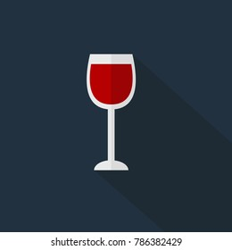 Wine glass icon isolated vector illustration on blue transparent background