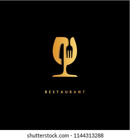 Wine Glass Knife Fork Restaurant Logo