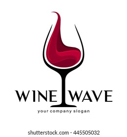 Wine glass logo template.