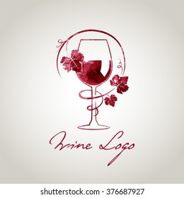 Wine glass logo template (watercolor style)