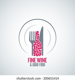 wine glass plate fork and knife design background