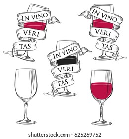 "Wine glass with ribbon and slogan ""in vino veritas"" or ""In Wine, Truth"". Vector hand drawn illustration in vintage style"