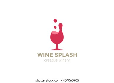 Wine Glass Splash Logo design vector template.