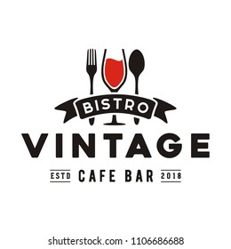 Wine Glass Spoon Fork Restaurant Vintage Retro Bar Bistro with Ribbon Logo design