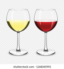 Wine glass, white and red wine isolated on a transparent background