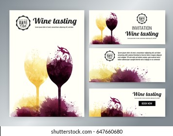 wine glasses with background stains. Promotion cards and banners. Vector