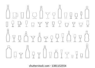 wine glasses and bottles set. Vector outline black and white illustration.