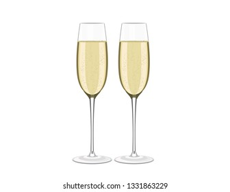 Wine glasses champagne on white background
