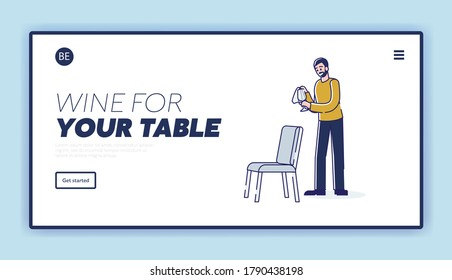 Wine glasses for dinner table serving. Landing page with holiday dinner preparation concept. Waiter or barman preparing for celebration banquet. Linear vector illustration
