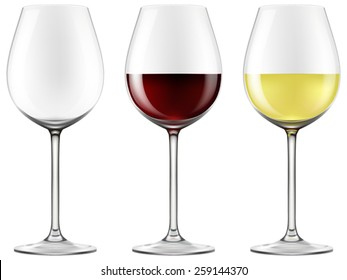 Wine glasses - empty, red wine and white wine. Vector illustration.