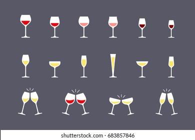 Wine glasses flat icons set. Vector illustration