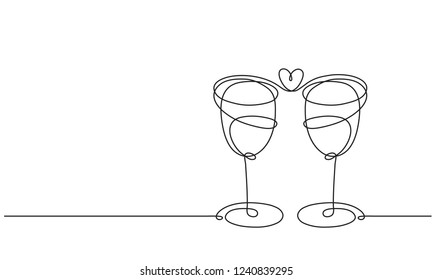 Wine glasses and heart. Line drawing
