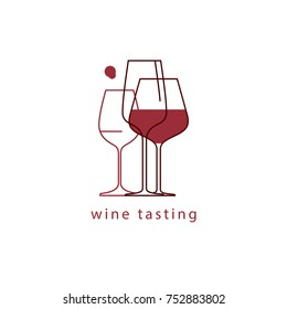 Wine glasses. Linear vector illustration. Template for menu, tasting, restaurant, party, logo, icons.
