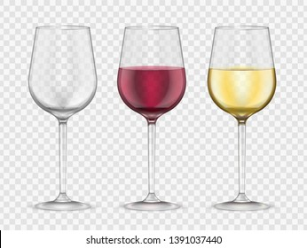 Wine glasses realistic style glassware bar set. Red and white wine glass collection, gourmet symbol. Vector illustration