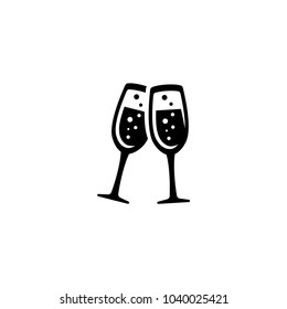 Wine Glasses Toast, Cheers vector icon. Simple flat symbol on white background