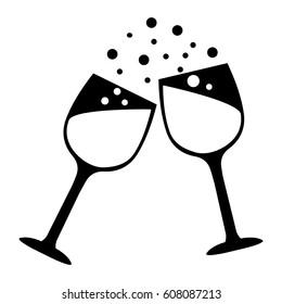 Wine glasses vector icon