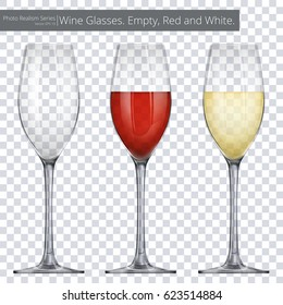 Wine Glasses. Vector illustration of 3 Wine Glasses. One empty and others with red and white wine.