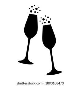 Wine glasses vector illustration, concept of celebration, black and white, silhouette