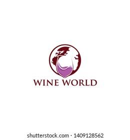Wine and Globe Logo designs