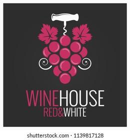 wine grape with wine corkscrew logo on black background