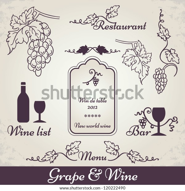 Wine Grape Decoration Vintage Vine Vector Stock Vector