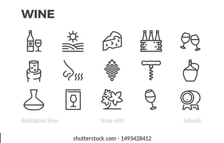 Wine, Grapes, Wine Bottles and Glasses. Vector icons. Editable line.