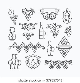 Wine, grapes and bottles' mono line elements for menu, package, design. Vector contour flat logo, emblems, decorations