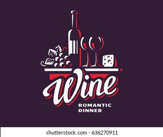 Wine and grapes logo - vector illustration, emblem design.