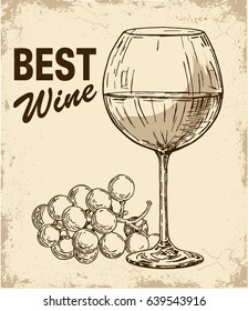 Wine and grapes on old paper background. Wine glass and a branch of grapes. Hand drawn vector illustration. Retro style.