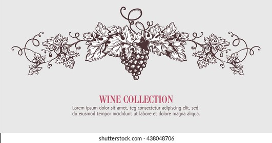 Wine grapes wreath template design. Vector illustration. Sketch style design. Handdrawn grapes.