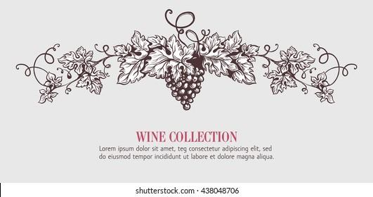 Wine grapes wreath template design. Vector illustration. Sketch style design. Handdrawn grapes.
